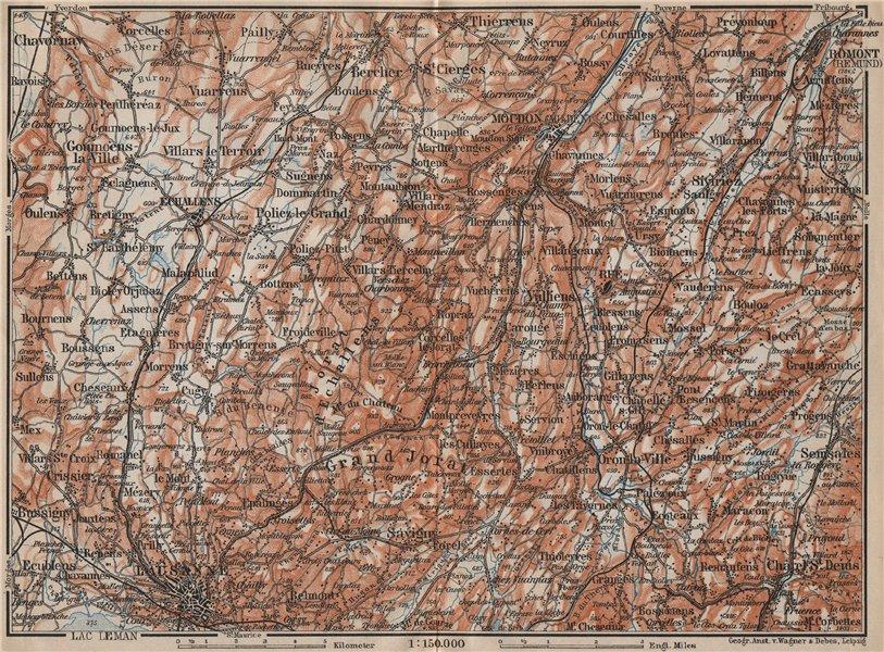 Associate Product PAYS DE VAUD North. Lausanne Moudon Romont Jorat Moudon Echallens 1907 old map