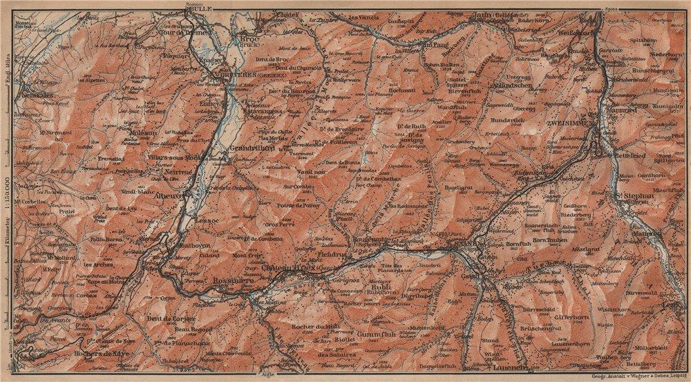 Associate Product SAANEN/SARINE & SIMME VALLEYS. Gstaad Château-d'Oex Saanenmöser Lenk 1907 map