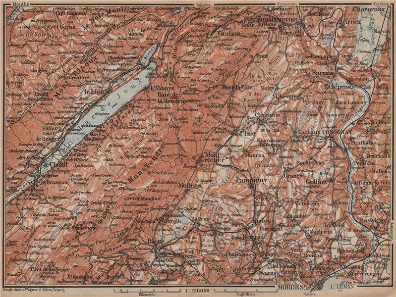 Associate Product WESTERN JURA. Morges Cossonay Vaulion Mont Risoux/Tendre Lac de Joux 1907 map