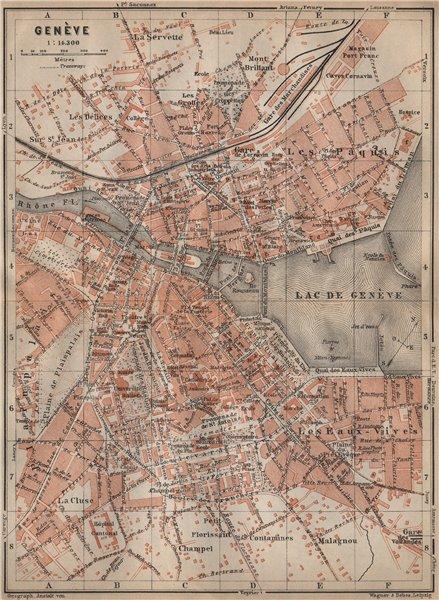 Associate Product GENEVA GENÈVE GENF. town city stadtplan. Switzerland Suisse Schweiz 1907 map
