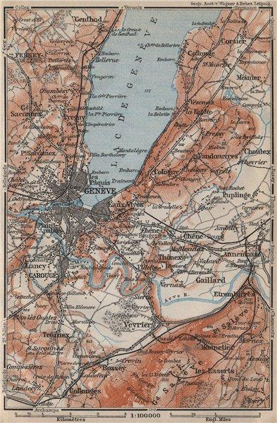Associate Product GENEVA GENÈVE GENF ENVIRONS. Switzerland Suisse Schweiz carte karte 1907 map