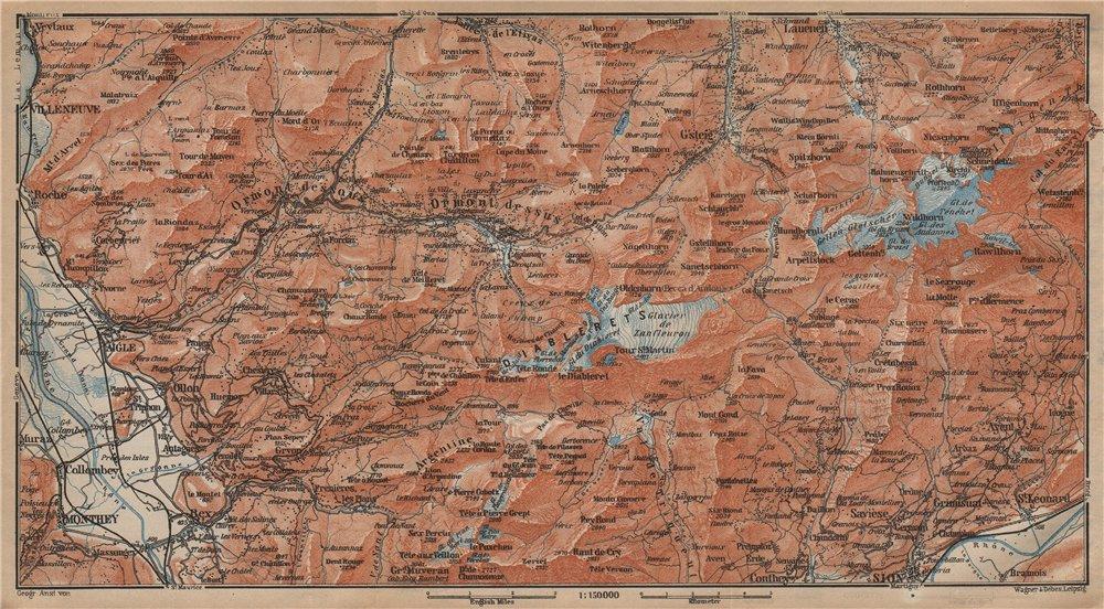 Associate Product AIGLE DISTRICT.Les Diablerets Villars Gryon Leysin Les Mosses Ormont 1907 map