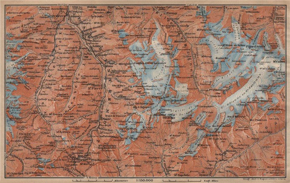 Associate Product GRAND ST BERNARD ENVIRONS Arolla Grand Combin Massif Orsières Mt Velan 1907 map