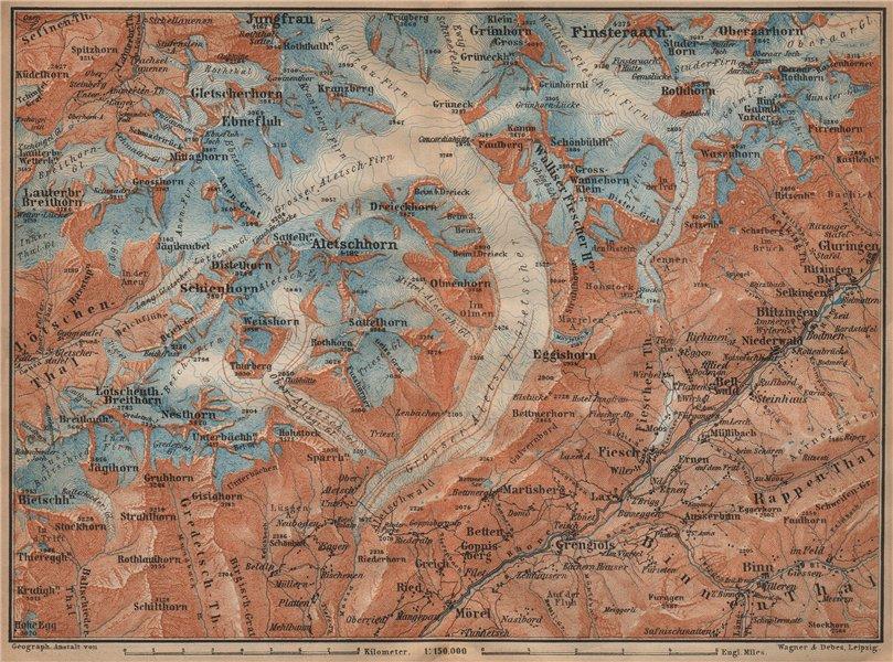 Associate Product ALETSCHHORN DISTRICT. Fiesch Mörel Jungfrau Nesthorn Grengiols 1907 old map