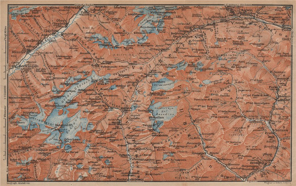 Associate Product GRIES PASS & NW TICINO ALPS. Val Bedretto Airolo Basodino Ofenhorn 1907 map