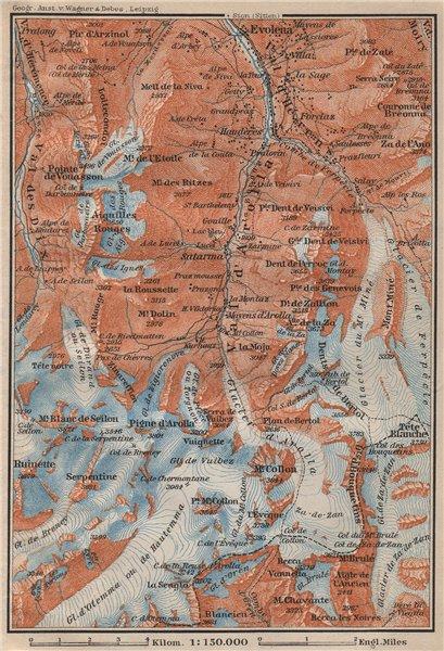 Associate Product VAL D'AROLLA. Evolène Hérens Mont Collon Tête Blanche Aiguilles Rouges 1907 map
