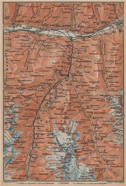 Associate Product STALDEN/SAAS-FEE AREA. Mischabel Group Grächen Dom Raron Randa Visp 1907 map