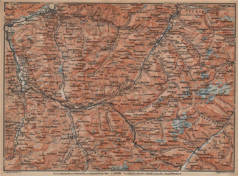 Associate Product GRAUBÜNDEN/ALBULA ALPS. Chur-Samedan. Arosa Lenz Davos Savognin Thusis 1907 map