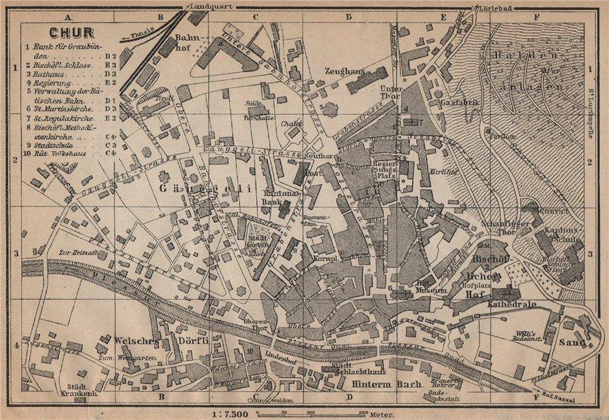 Associate Product COIRE / CHUR. Chur. town city stadtplan. Switzerland Suisse Schweiz 1907 map