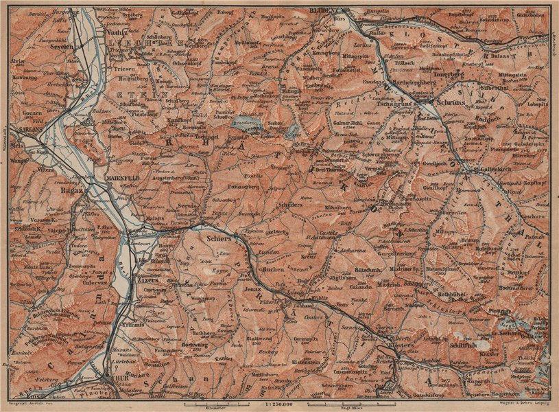 Associate Product BAD RAGAZ PRÄTIGAU MONTAFON ENVIRONS. Wangs Rätikon Bludenz Maienfeld 1907 map