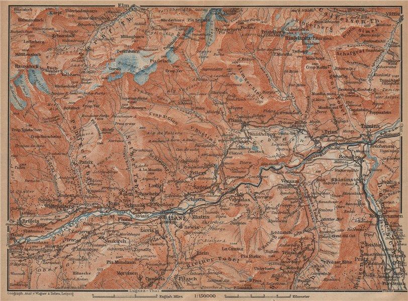 Associate Product ILANZ & FLIMS AREA. Laax Obersaxen Mundaun Brigels Waltensburg Tamins 1907 map