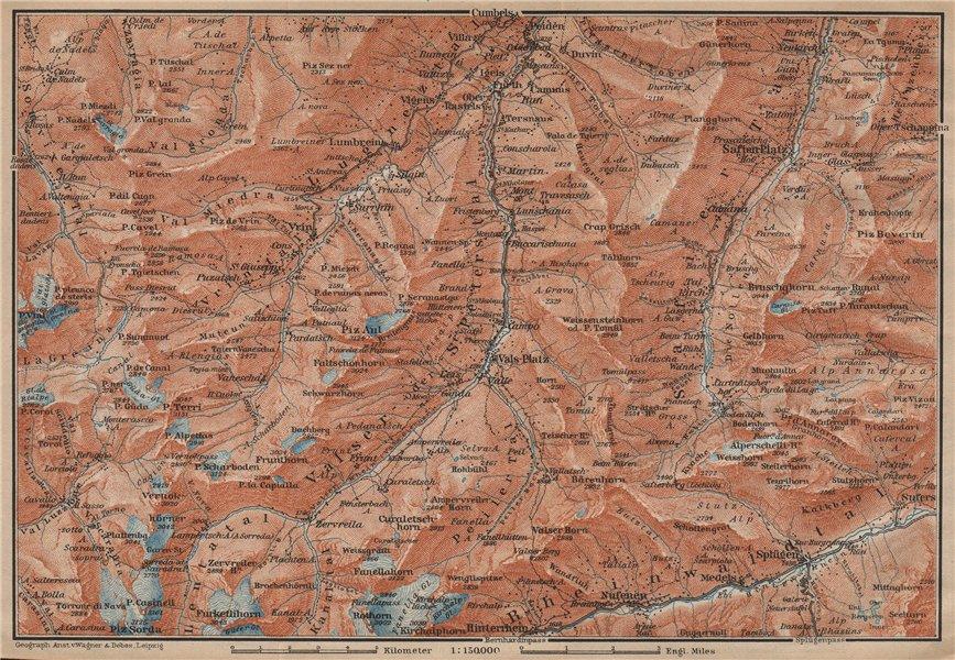 LUGNETZTAL SURSELVA. Valserrhein Furketlihorn Hinterrhein Splügen 1907 old map