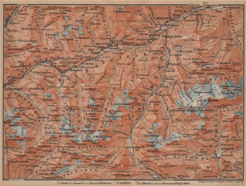 Associate Product VAL TAVETSCH/MEDEL. Andermatt Disentis Sedrun Wassen Piz Medel. Topo-map 1907