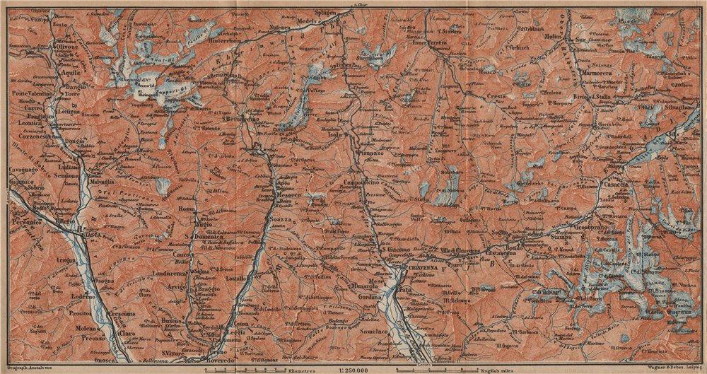 Associate Product LUKMANIER to MALOJA.Sils Maria Bivio Madesimo Chiavenna San Bernardino 1907 map