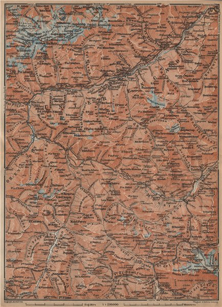 Associate Product LOWER ENGADINE. Livigno Bormio Ftan Scuol Silvretta Range Piz Buin 1907 map