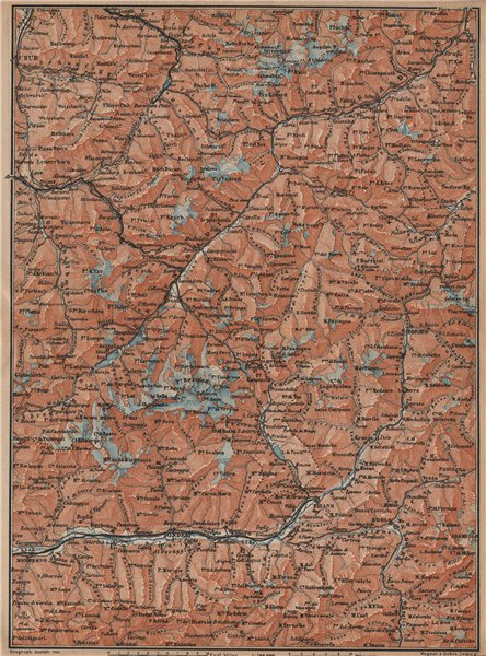 Associate Product ENGADINE/VAL TELLINA. Davos Arosa Sils Bormio Livigno Sondrio Chur 1907 map