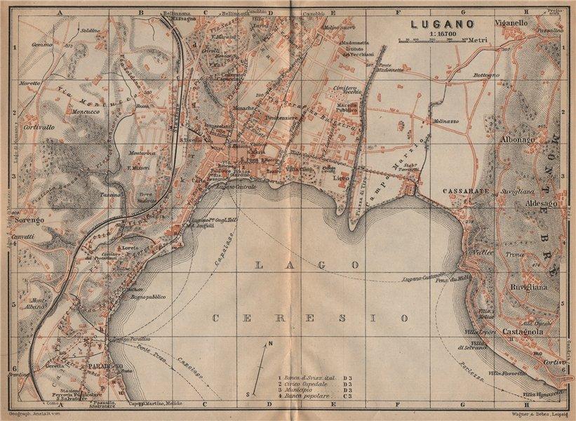 Associate Product LUGANO. town city stadtplan. Switzerland Suisse Schweiz carte karte 1907 map