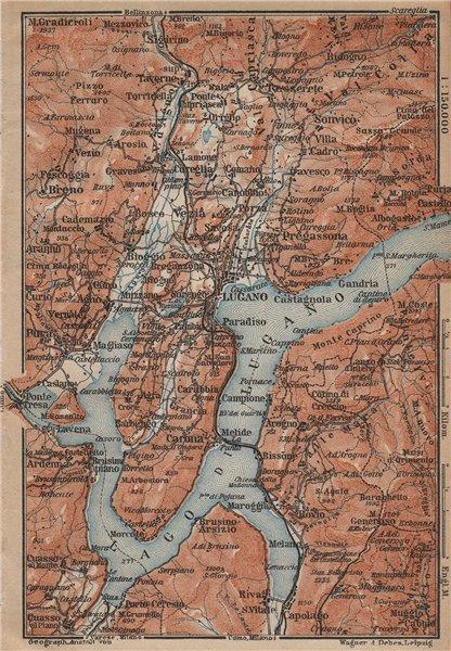 LUGANO ENVIRONS. Lake Lago di. Topo-map. Switzerland Suisse Schweiz 1907