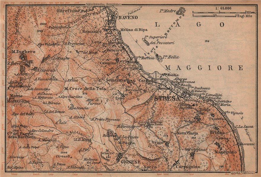 Associate Product STRESA ENVIRONS. Baveno Gignese. Italy mappa. BAEDEKER 1907 old antique