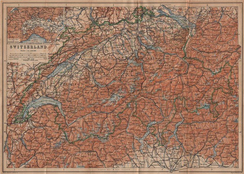 Associate Product Map of Switzerland Suisse Schweiz. Northern Italy railways carte karte 1909