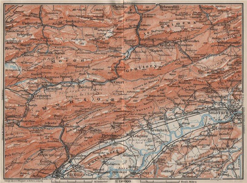 Associate Product BERNESE JURA. Solothurn Biel/Bienne Rebeuvelier Tavannes. Topo-map 1909