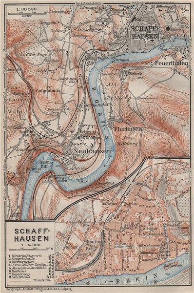 Associate Product SCHAFFHAUSEN environs. Flurlingen Feuerthalen Neuhausen. Schweiz 1909 old map