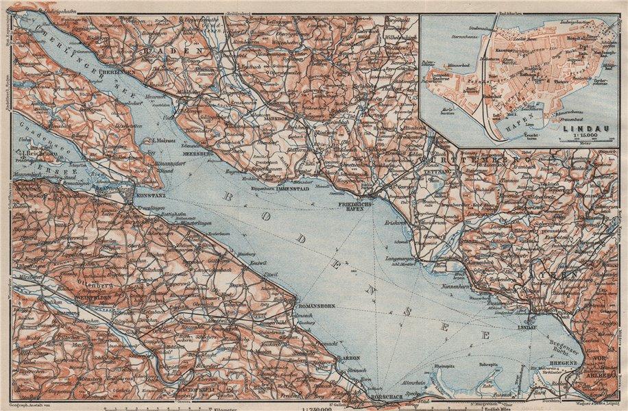 Associate Product LAKE CONSTANCE inset LINDAU. Konstanz St Gallen Bregenz. Topo-map 1909 old