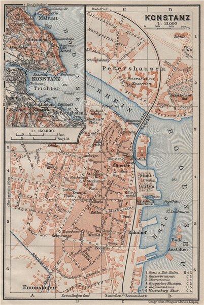Associate Product CONSTANCE. KONSTANZ. town city stadtplan. Germany karte. BAEDEKER 1909 old map