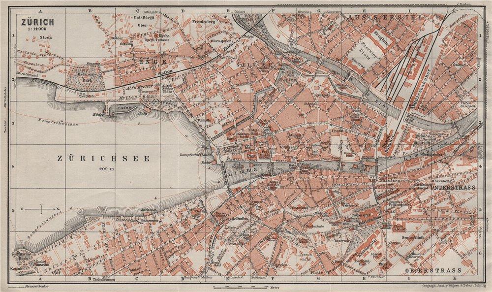 Associate Product ZÜRICH. Zurich. town city stadtplan. Switzerland Suisse Schweiz 1909 old map