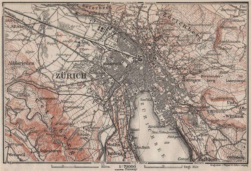 Associate Product ZÜRICH ENVIRONS. Zurich. Switzerland Suisse Schweiz carte karte 1909 old map