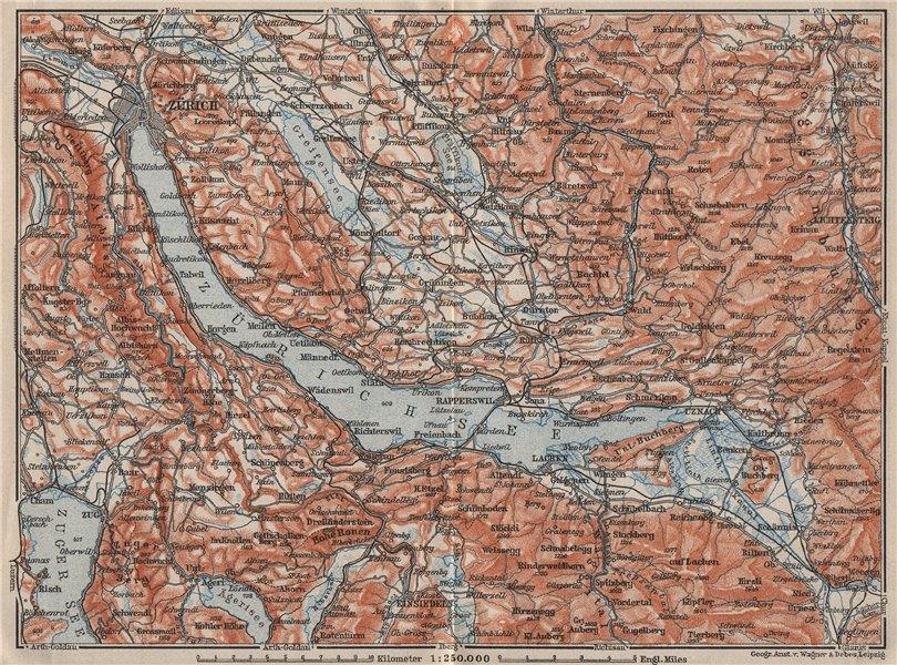 Associate Product LAKE ZÜRICH. Zuricher See Lachen Utznach.Topo-map. Switzerland Schweiz 1909