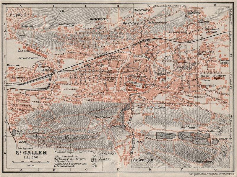 Associate Product ST. GALLEN. town city stadtplan. Switzerland Suisse Schweiz. BAEDEKER 1909 map