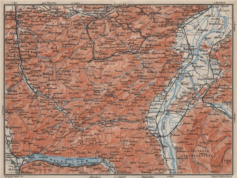 Associate Product APPENZELL CANTON. Wildhaus Unterwasser St. Gallen Trogen Walensee 1909 old map