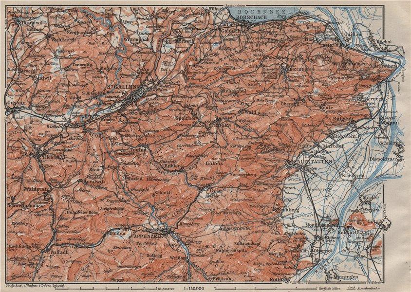 Associate Product ST GALLEN/APPENZELL area. Herigau Altstätten Heiden Rheineck Rorschach 1909 map