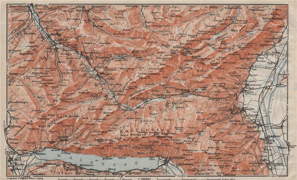 Associate Product THUR VALLEY.Säntis Toggenburg Wildhaus Alt St Johann Unterwasser Grabs 1909 map