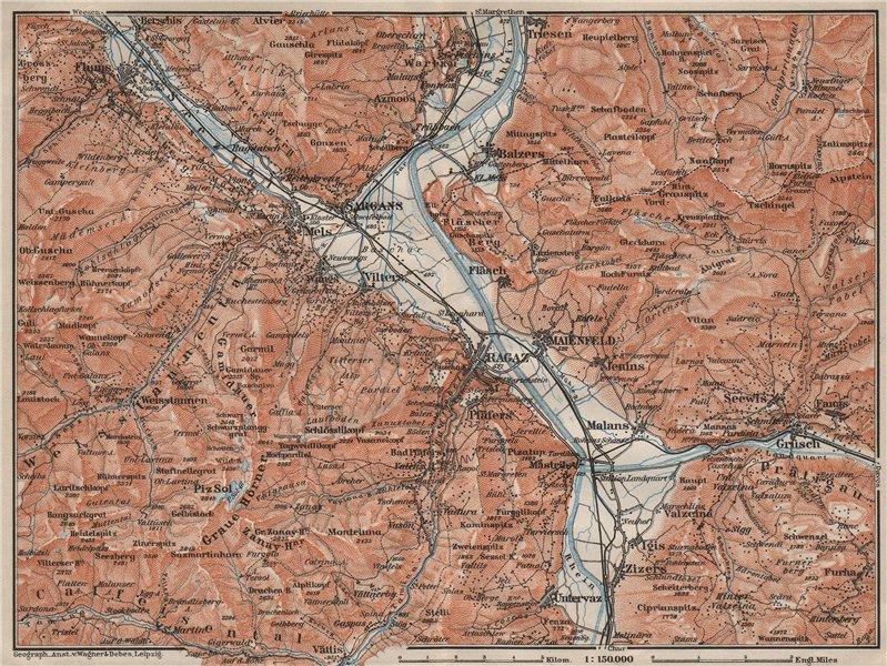 Associate Product BAD RAGAZ. Malbun Flums Wangs Pizol Sargans Grusch Malans Maienfeld 1909 map