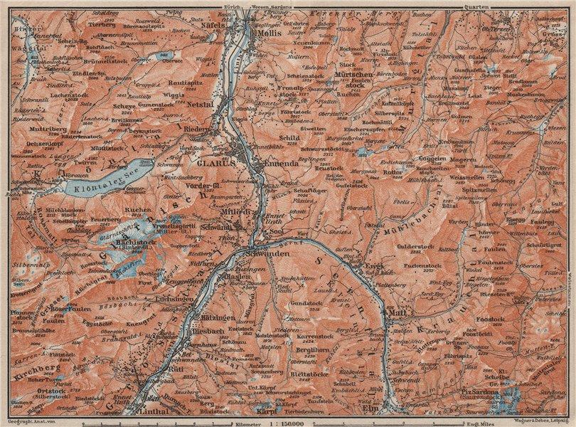 Associate Product GLARUS area. Braunwald Bächistock Netstall Mollis Näfels Elm. Topo-map 1909