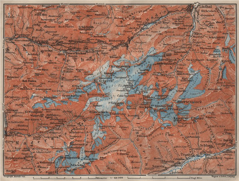 Associate Product TÖDI DISTRICT. Glarus Alps Linththal Bifertenstock Claridenstock 1909 old map