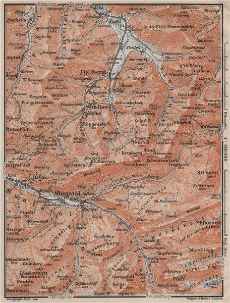 Associate Product MUOTATHAL PRAGEL & SIHLTAL. Silbern Liedernen (Kaiserstock) Iberg 1909 old map