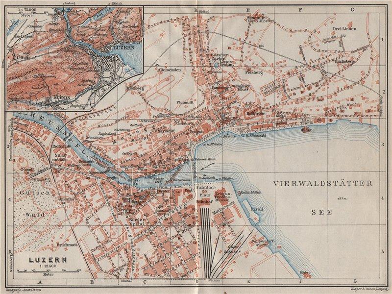 Associate Product LUCERNE LUZERN. town city stadtplan. Switzerland Suisse Schweiz 1909 old map
