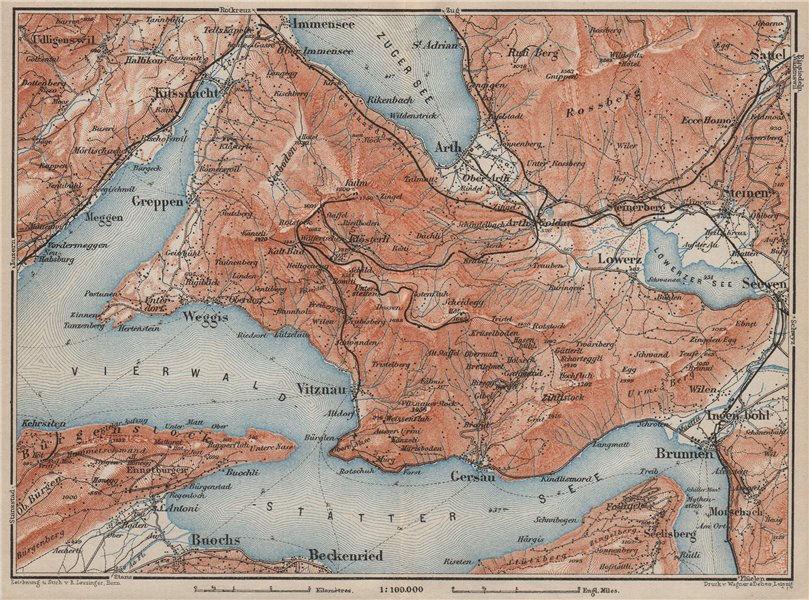 Associate Product THE RIGI. Vitznau Lowerz Immensee Arth Gersau Bekenried. Topo-map 1909 old