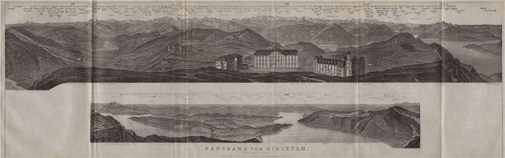 Associate Product PANORAMA from/von RIGIKULM 1800m. Küssnacht. Switzerland Schweiz 1909 old map