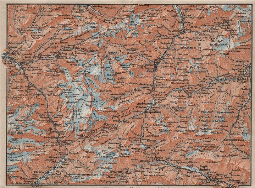 Associate Product ST GOTTHARD area. Andermatt Engelberg Silenen Gadmen Ulrichen Disentis 1909 map