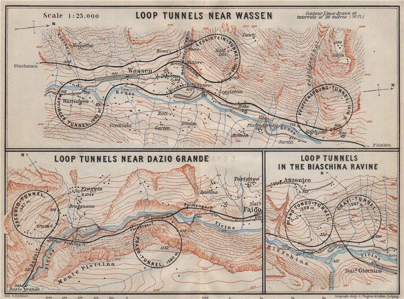 Associate Product ST GOTTHARD RAILWAY SPIRAL/LOOP TUNNELS Wassen Freggio Prato Biaschina 1909 map