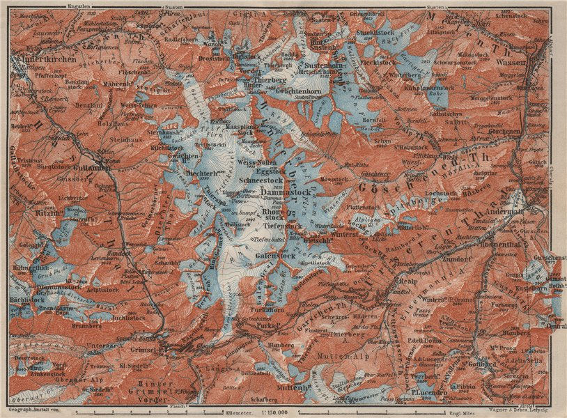 Associate Product URNER/URI ALPS. Trift district. Andermatt Innertkirchen Dammastock 1909 map