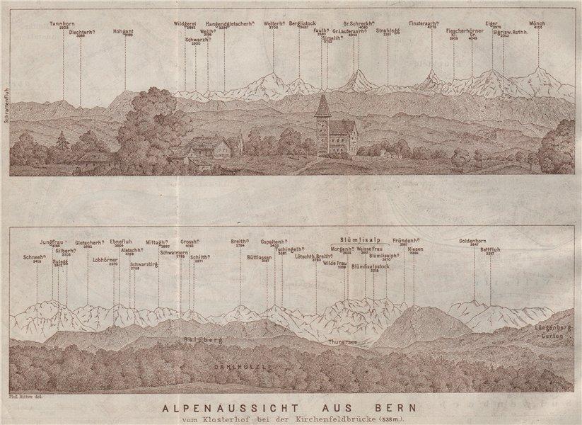Associate Product PANORAMA vom/from BERN/Berne. Blumisalp Eiger Jungfrau Gletscherhorn 1909 map