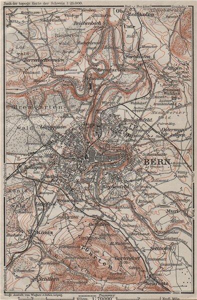 Associate Product BERN BERNE ENVIRONS. Switzerland Suisse Schweiz carte karte. BAEDEKER 1909 map