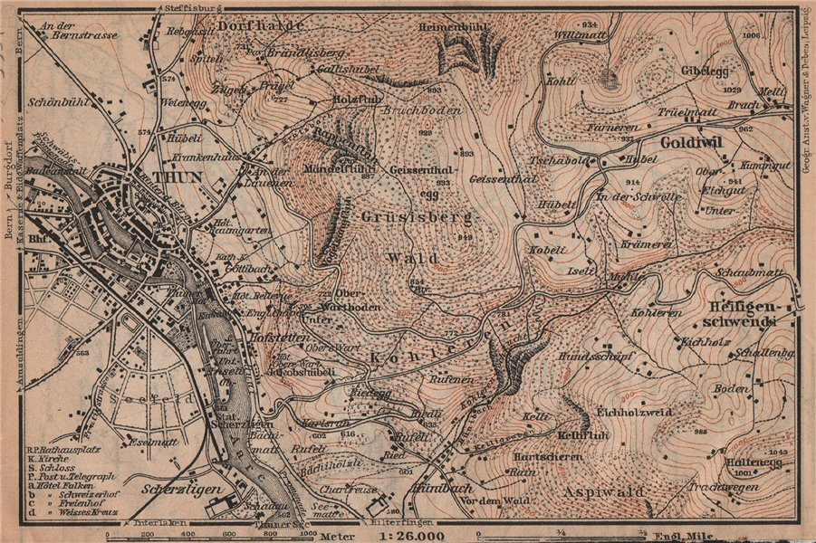 Associate Product THUN ENVIRONS. Goldiwyl. Switzerland Suisse Schweiz carte karte 1909 map