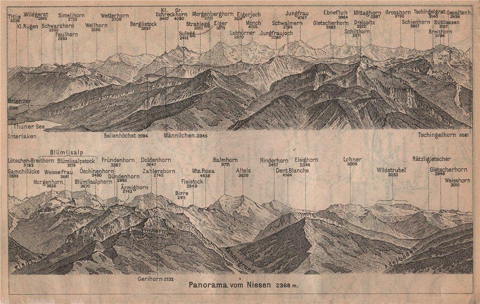 Associate Product PANORAMA from/von NIESEN 2366m. Blumisalp Jungfrau Switzerland Schweiz 1909 map
