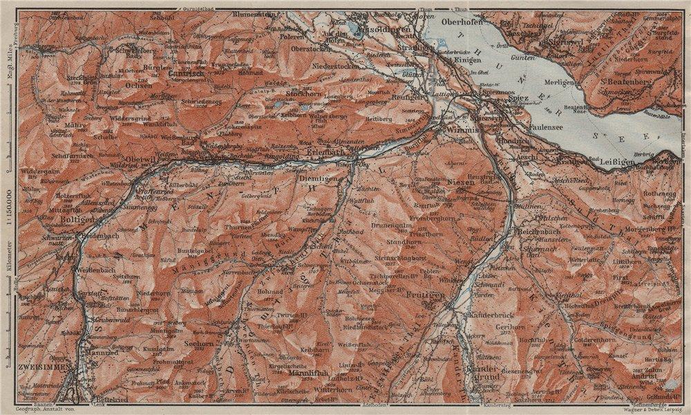 Associate Product THUNER SEE. SIMME/KANDER VALLEYS. Gantrisch Spiez Frutigen Oberwil 1909 map